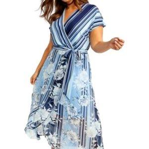 Lane Bryant Floral Maxi Dress Stripes High-low